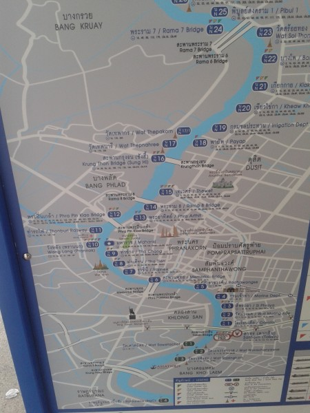 Chao Phraya Boad Route Map
